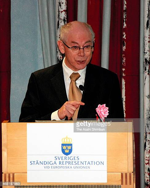 European Council President Herman Van Rompuy speaks about his love for haiku during a symposium organized by the Haiku International Association on...