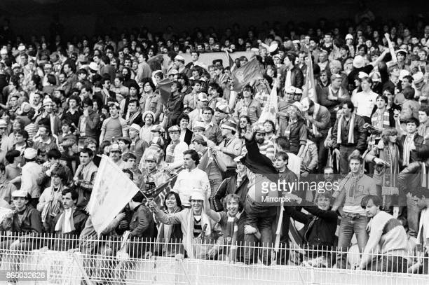 European Cup Final at the Parc Des Princes in Paris France Liverpool 1 v Real Madrid 0 Liverpool fans cheer on their team in the stadium during the...
