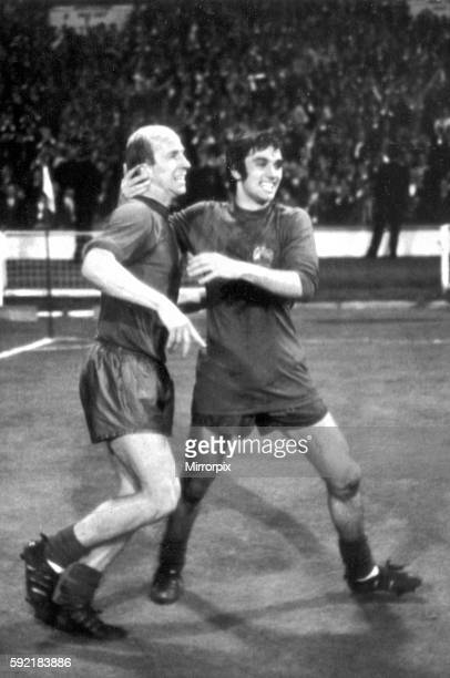 European Cup Final at Wembley Stadium Manchester United 4 v Benfica 1 after extra time United's Bobby Charlton celebrates with team mate George Best...