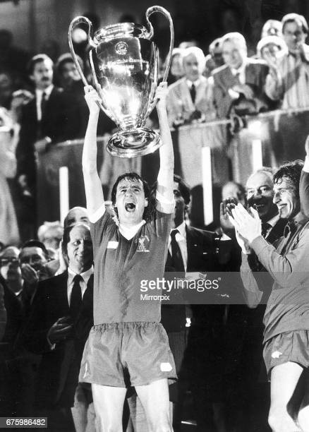 European Cup Final in Paris France Liverpool 1 v Real Madrid 0 Liverpool captain Phil Thompson holds aloft the trophy after the match 27th May 1981