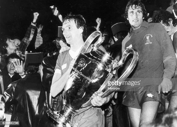 European Cup Final in Paris France Liverpool 1 v Real Madrid 0 Liverpool captain Phil Thompson holds the trophy after the match with goalkeeper Ray...