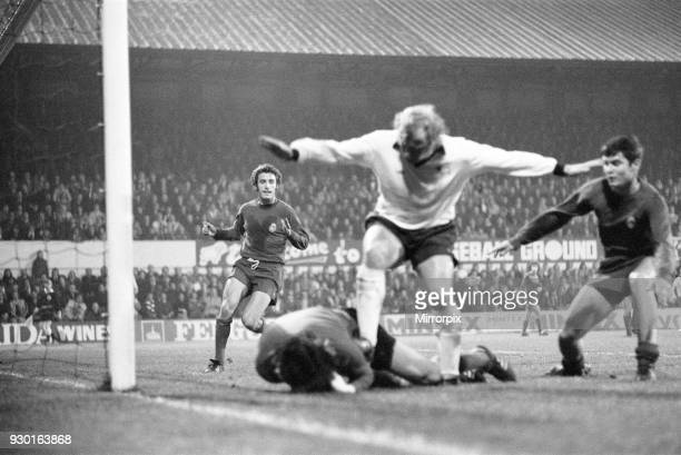 European Cup Second Round First Leg match at the Baseball Ground. Derby County 4 v Real Madrid 1. Real Madrid goalkeeper Miguel Angel saves at the...