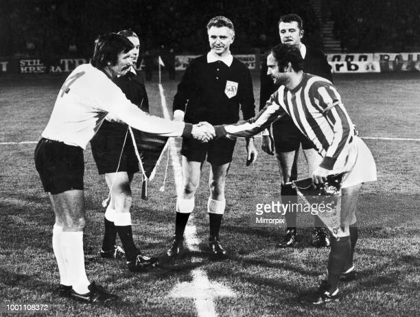 European Cup Second Round First Leg match at the Marakana Stadium Belgrade Yugoslavia Red Star Belgrade 2 v Liverpool 1 Handshakes between the two...