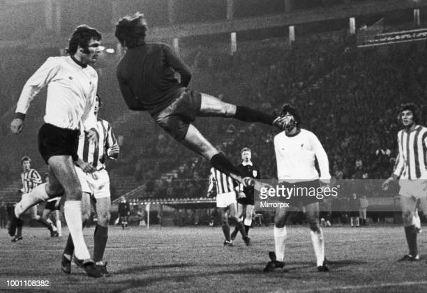 European Cup Second Round First Leg match at the Marakana Stadium Belgrade Yugoslavia Red Star Belgrade 2 v Liverpool 1 Acrobatics from Red Star...