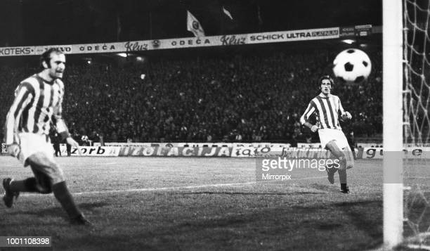 European Cup Second Round First Leg match at the Marakana Stadium Belgrade Yugoslavia Red Star Belgrade 2 v Liverpool 1 Two Red Star defenders look...
