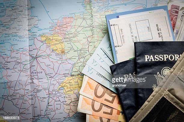 European Currency, American Passport, Airline Tickets and Map