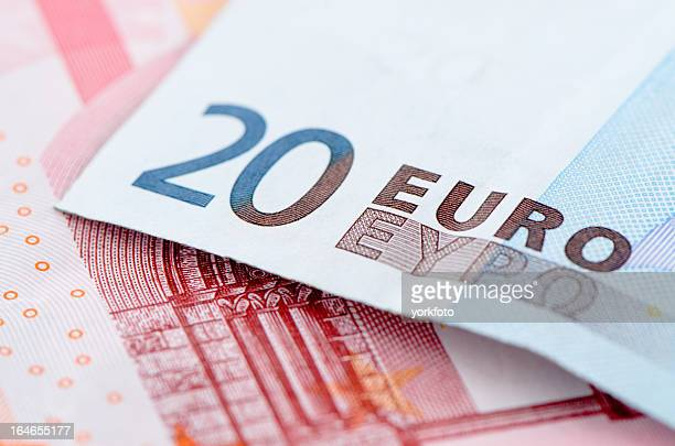 european currency. - twenty euro banknote stock photos and pictures