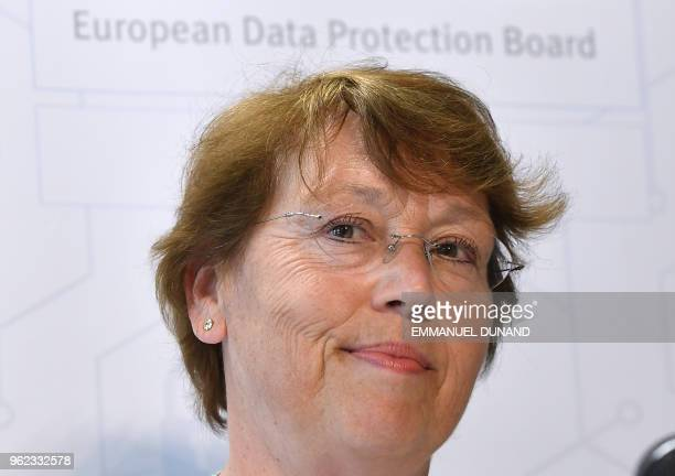 European Data Protection Board Chairwoman Andrea Jelinek adddresses a press conference as the EU General Data Protection Regulation becomes...