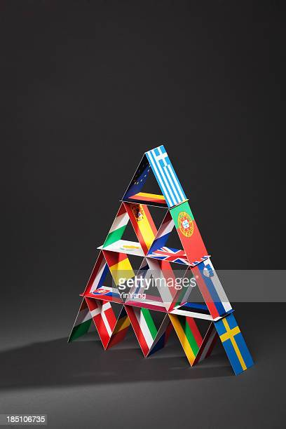 european debt crisis house of cards vt - hungary vs belgium stock photos and pictures
