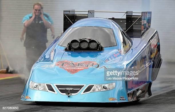 European Drag Racing Finals Santa Pod Raceway Northampton UK FIA Top Fuel Funny Car burnout off start line