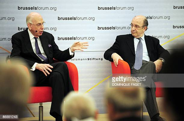 European economic and monetary affairs commissioner Joaquin Almunia listens to US senator Bob Bennett on March 22 2009 during the annual Brussels...