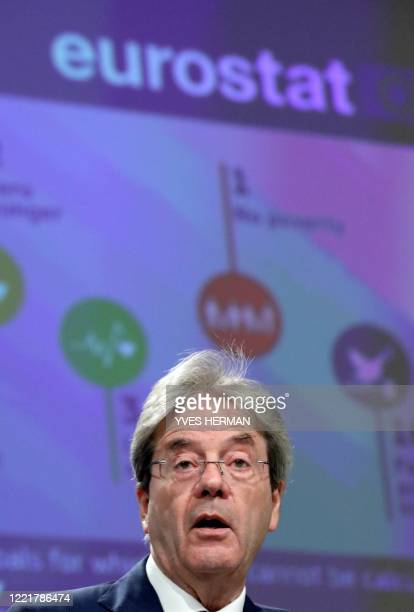 European Economy Commissioner Paolo Gentiloni speaks during a a news conference on the 2020 Eurostat report on progress towards the Sustainable...