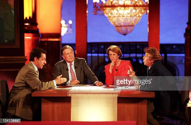 European Election Debate with Nicolas Sarkozy Daniel Cohn Bendit in Paris France on March 22 1999 With Journalists Alain Duhamel Arlette Chabot