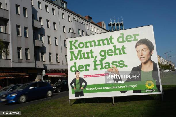 European elections campaign billboard for the German Greens Party and its candidate Ska Keller is seen on April 17 2019 in Berlin Germany Political...