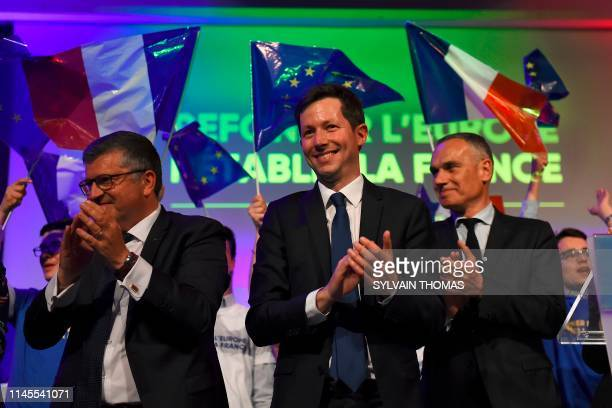 European Elections top candidate for French right-wing Les Republicains party Francois-Xavier Bellamy applauds at the end of a meeting ahead of the...