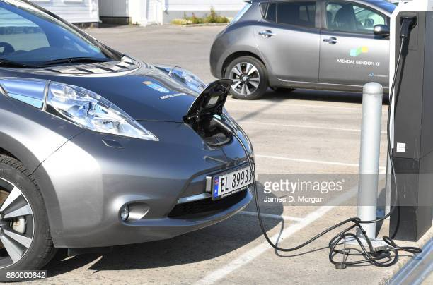 european electric car recharging at automotive electric car recharging station in Southern Norway in Norway in August 22nd 2017