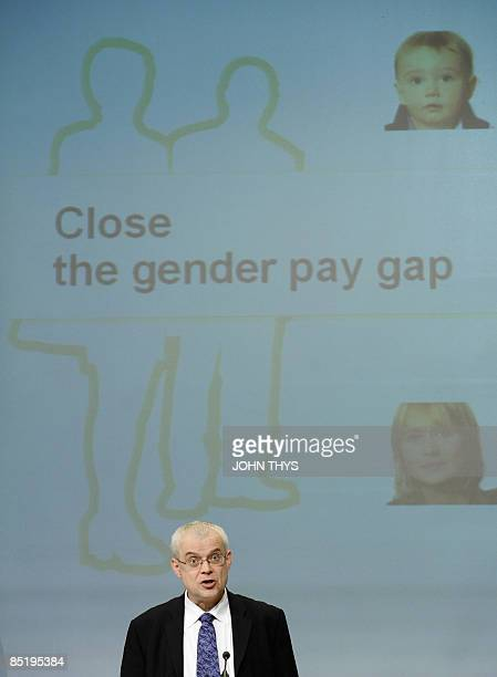"""European employment, social affairs and equal opportunities commissioner Vladimir Spidla gives a press conference on the """"European Gender Pay Gap..."""