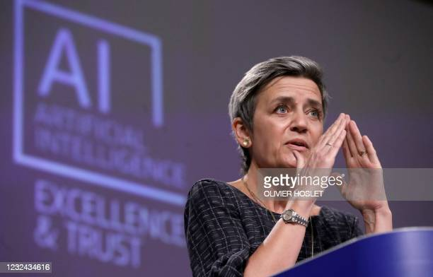European Executive Vice-President Margrethe Vestager speaks during a press conference on artificial intelligence following the weekly meeting of the...