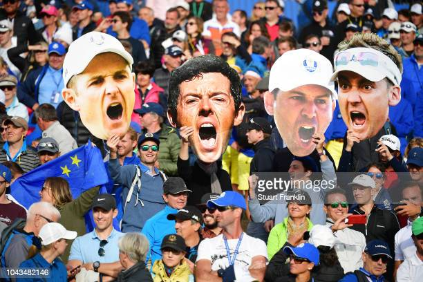 European fans celebrate during singles matches of the 2018 Ryder Cup at Le Golf National on September 30 2018 in Paris France