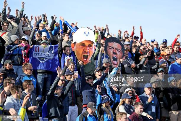 European fans display giant pictures of Rory McIlroy and Sergio Garcia during the morning fourball matches of the 2018 Ryder Cup at Le Golf National...