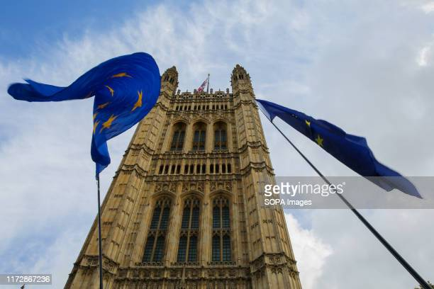European flags are seen fluttering outside Houses of Parliament in Westminster The British Prime Minister Boris Johnson is poised to reveal his final...