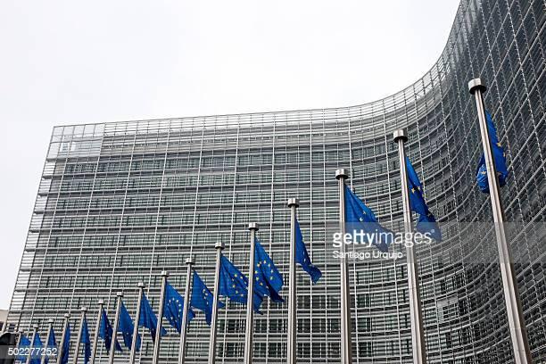 European flags at Berlaymont building in Brussels