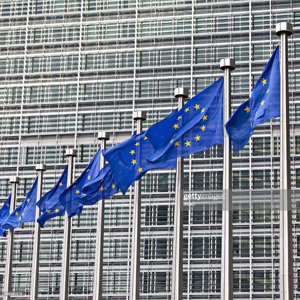 ブリュッセルでは、ヨーロッパの国旗 : ストックフォト