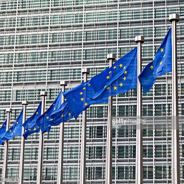 banderas europeas de bruselas - unión europea fotografías e imágenes de stock