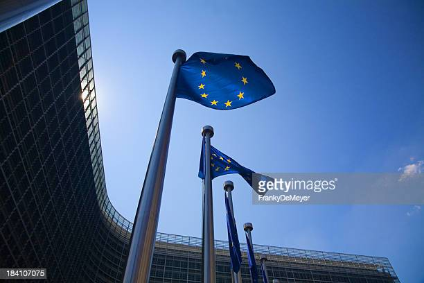 european flags in brussels - brussels capital region stock photos and pictures