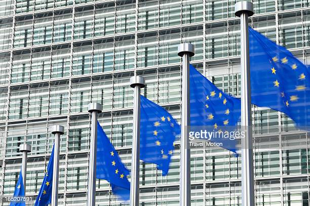 european flags in front of the berlaymont building in brussels - national landmark stock pictures, royalty-free photos & images