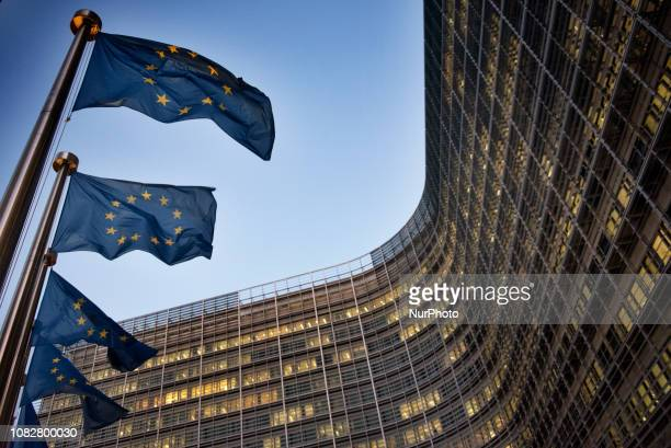 European flags wave in front of the Berlaymont building European Commission headquarter in Brussels Belgium on January 14 the day ahead of crucial UK...