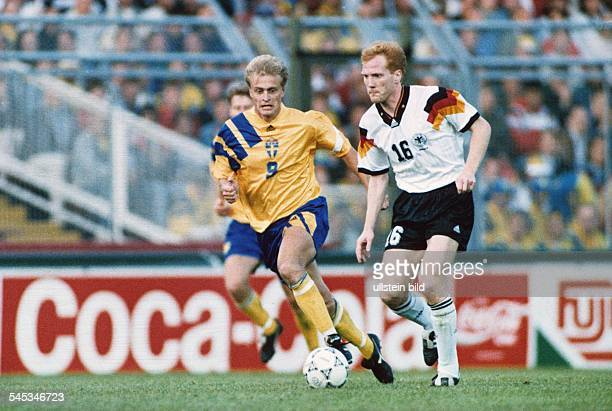 UEFA European Football Championship 1992 final_tournament in Sweden semifinal in Stockholm Sweden vs Germany 23 duel between Jonas Magnus Thern and...