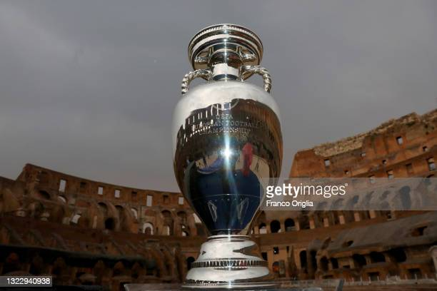 European Football Championship trophy cup is seen at the Colosseum during the FIGC UEFA Euro 2020 Opening Event on June 10, 2021 in Rome, Italy.