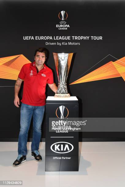 European football legend Deco donates the first pair of boots at the launch of the 2019 UEFA Europa League Trophy Tour driven by Kia at the Geneva...