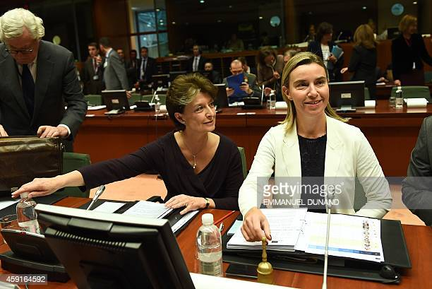 European Foreign Affairs chief Federica Mogherini poses with European Defence Agency Chief Executive ClaudeFrance Arnould prior to an European...