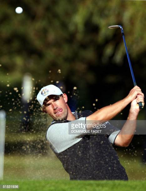 European golfer Padraig Harrington of Ireland hits out of the sand on the 16th hole of the Brabazon course during the third team practice of the 34th...
