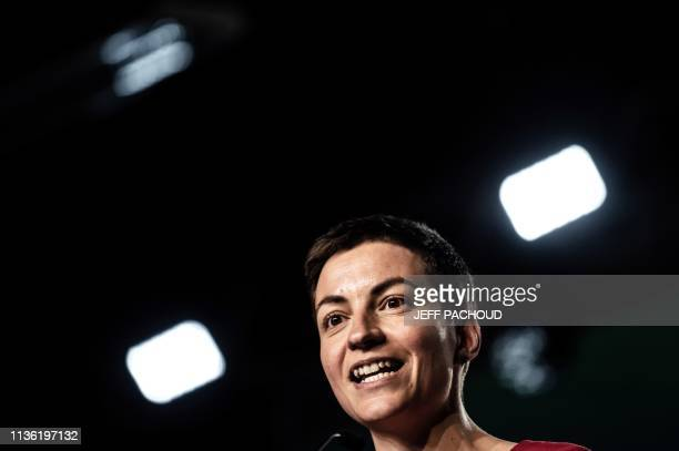 European Green party coleading candidate Ska Keller from Germany delivers a speech during a 'EELV' meeting for the upcoming European elections on...