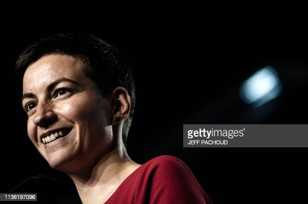 European Green party coleading candidate Ska Keller from Germany looks on as she delivers a speech during a 'EELV' meeting for the upcoming European...