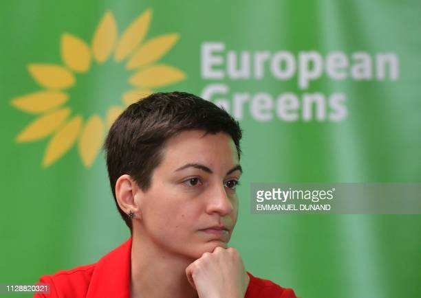 European Green party coleading candidate Ska Keller from Germany addresses the media during the launch of the European Green Party campaign for the...
