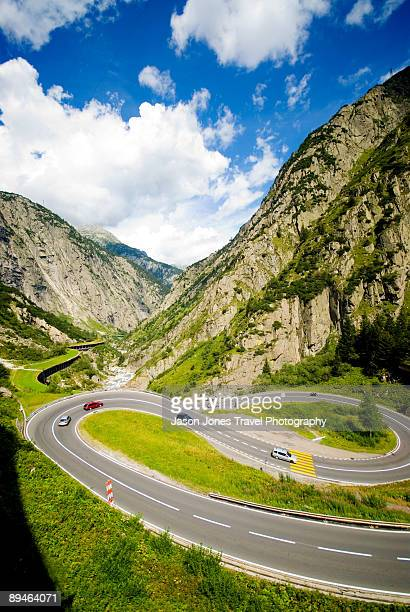 european hairpin bends - hairpin curve stock photos and pictures