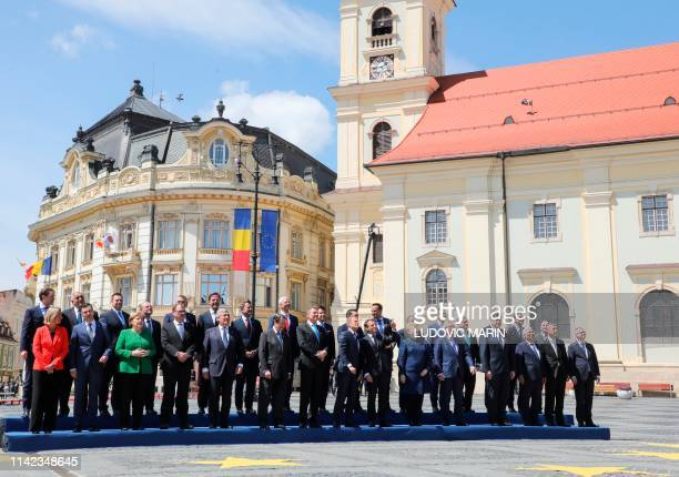 European heads of government and EU leaders pose for a family picture during a EU summit in Sibiu central Romania on May 9 2019 European Union...