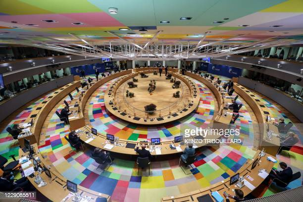 European heads of States and government attend an European Union summit at the European Council Building in Brussels, on October 15, 2020. - European...