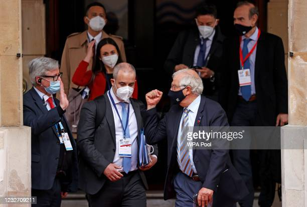 European High Representative of the Union for Foreign Affairs Josep Borrell leaves the G7 foreign ministers' meeting on May 5, 2021 in London,...