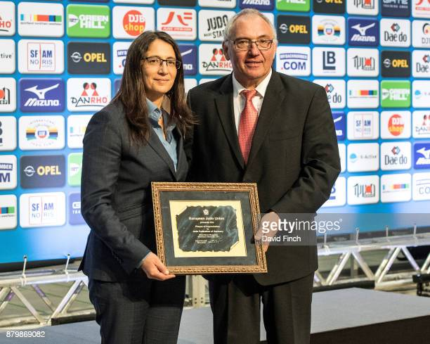European Judo Union Sports Director Catarina Rodrigues presents the President of the German Judo Federation Peter Frese who as recently promoted to...