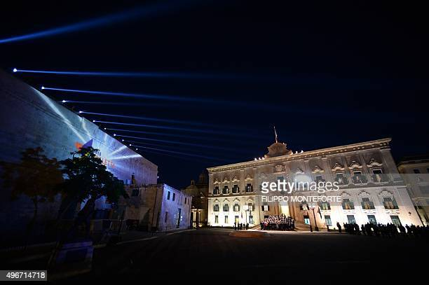European leaders and African leaders stand outside the Auberge de Castille in La Valletta on November 11, 2015 during the opening ceremony of the...