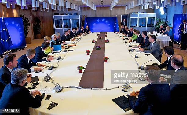 European leaders and officials are seen during the Euro Summit to discuss the situation of Greece 22 June 2015 at the European Union headquarters in...