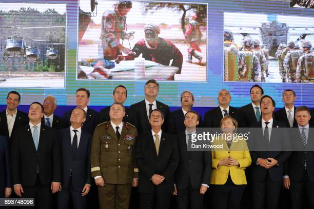 European leaders pose during the European Union leaders summit at the European Council on December 14 2017 in Brussels Belgium The European Council...