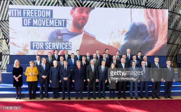 European leaders pose for the family photo during a celebration to mark the 25th anniversary of the European Economic Area on the second day of an EU...