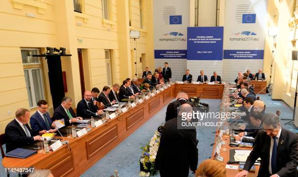 European leaders take part in the opening session of the EU summit in Sibiu central Romania on May 9 2019 EU leaders meeting in the mountainous city...