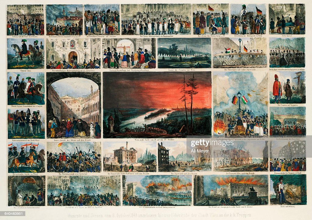 European Lithograph with Scenes from Viennese Revolution of 1848 : News Photo